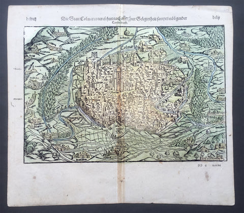 1588 Munster Antique Map - View of the city of Colmar Alsace region of NE France