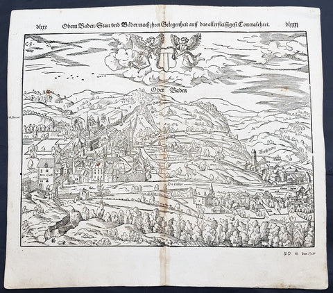 1598 Munster Antique Map Birds Eye View of Baden bei Zürich, Aargau, Switzerland
