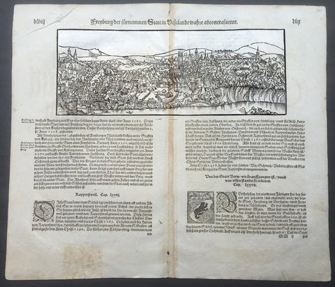 1598 Munster Antique Print View of Fribourg, Sarine District, Switzerland
