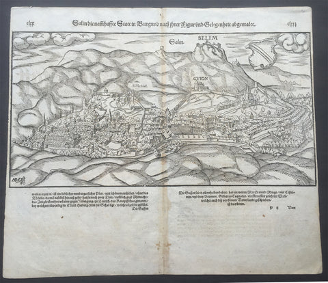 1598 Munster Antique View of Salin-les Bains, Jura dept. Franche-Comté, France