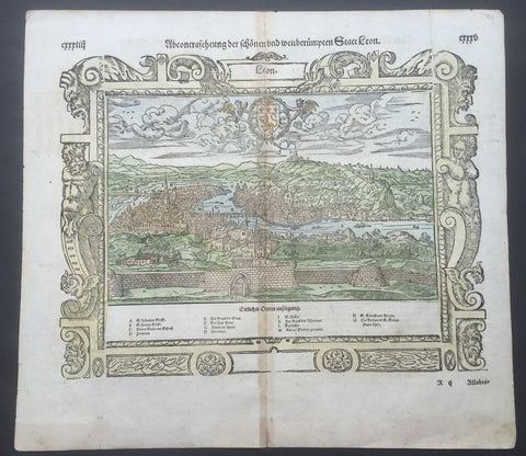1588 Munster Antique Map - View of Lyon, France