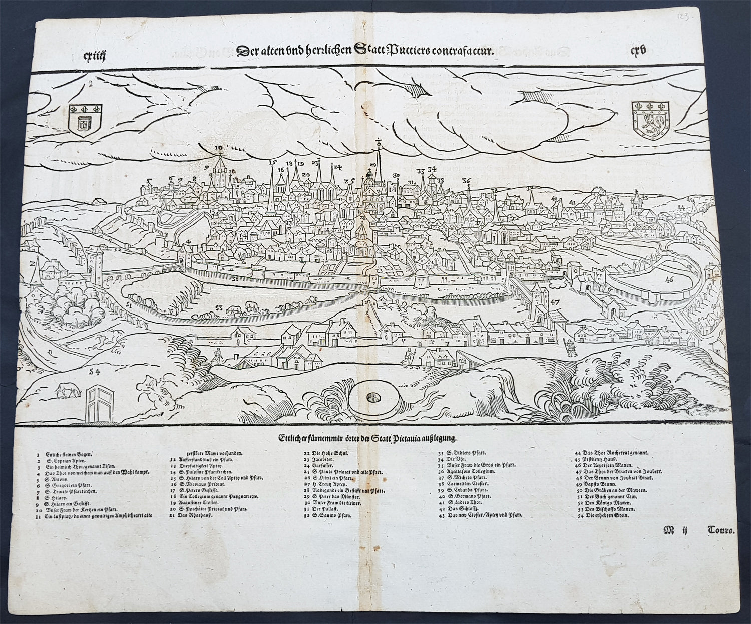 Poitou France Map.1598 Munster Antique Map Birds Eye View Of The City Of Poitiers In