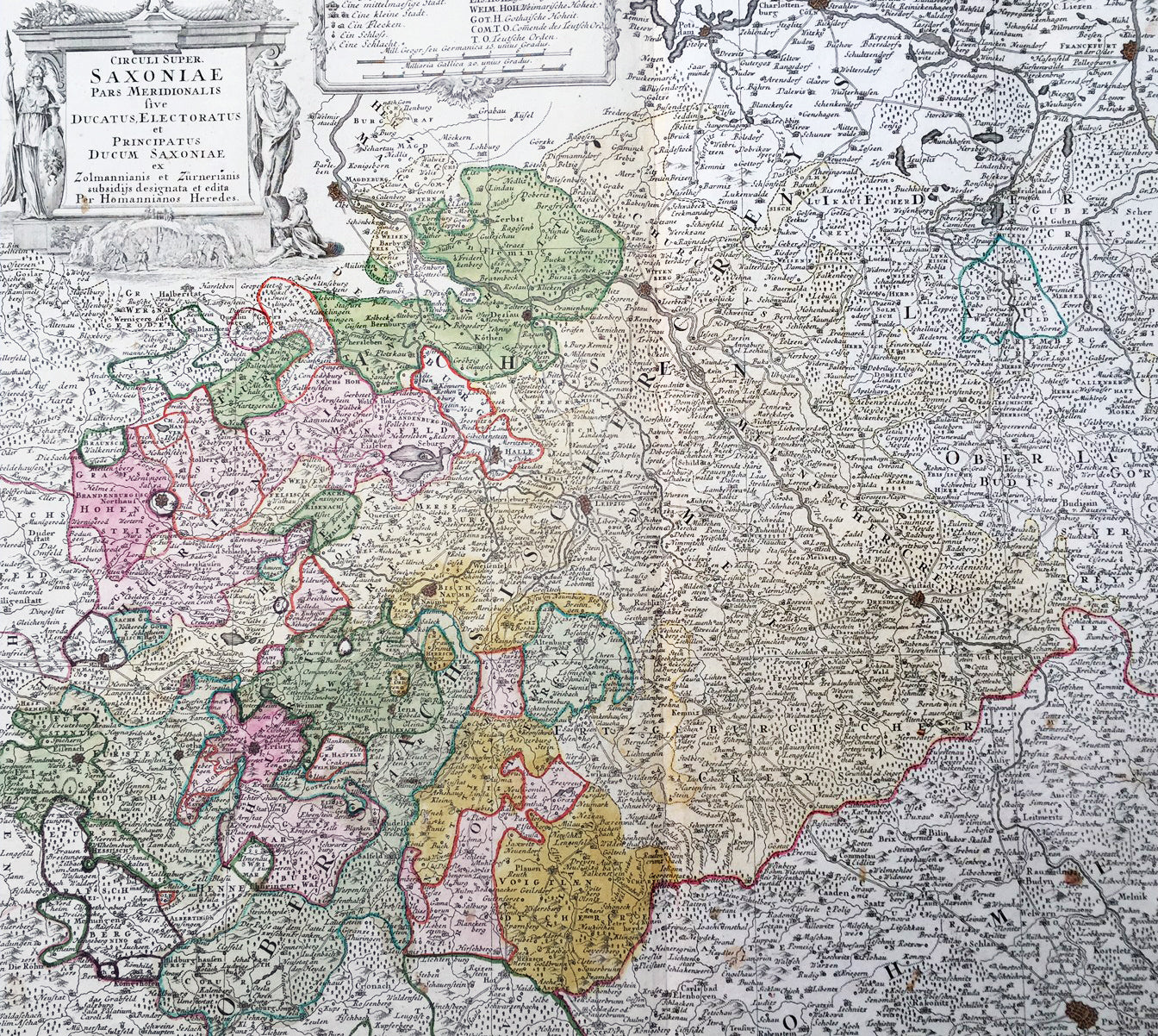 Map Of Old Germany.1735 J B Homann Large Antique Map Of Old Saxony Germany Berlin To