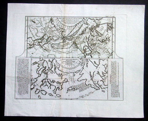 1772 De Vaugondy Antique Map of N W America, Alaska, Canada, Great Lakes