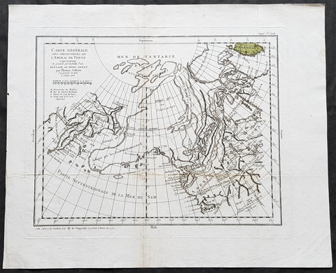 1772 De Vaugondy Antique Map North-West Passage, Alaska America, New Albion