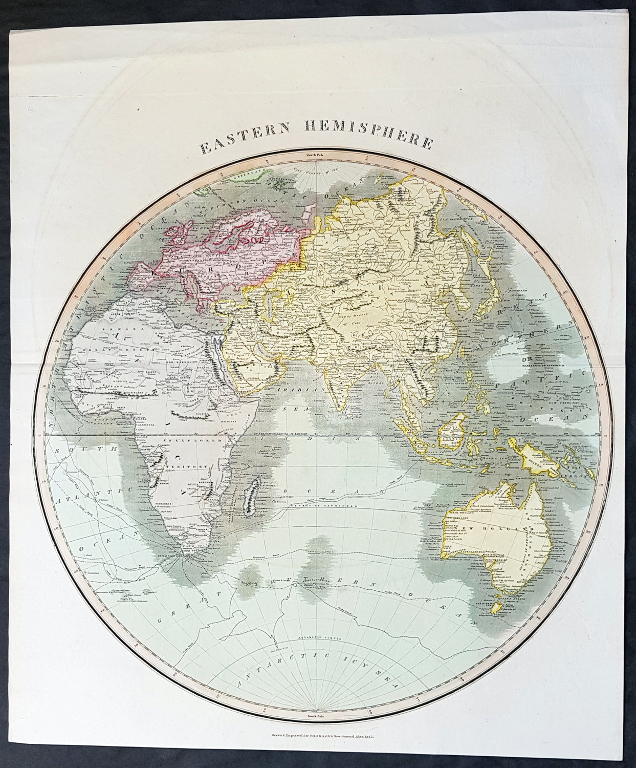 1815 John Thomson Large Antique Map Eastern Hemisphere, New Holland ...