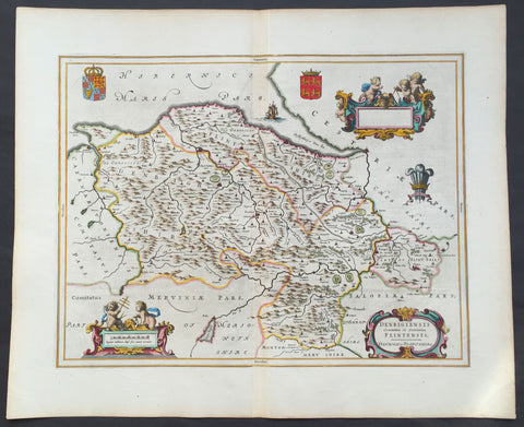 1647 Blaeu Antique Map of The Welsh Counties of Denbigh & Flintshire