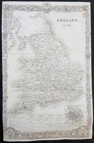 1836 Thomas Moule Large Original Antique Map of England & Wales