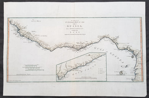 1788 Thomas Bowen Antique Map The Gulf of Guinea, West Africa - Liberia to Gabon