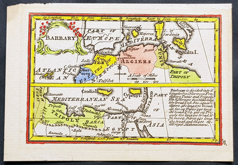 1758 John Gibson Antique Miniature Map Barbary or Berber Coast Nth Africa - Rare