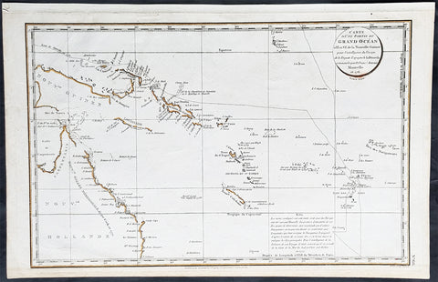 1798 Laperouse & Mourelle Antique Early Map of Queensland, PNG, Fiji etc in 1781