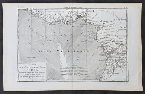 1780 Rigobert Bonne Original Antique Map Gulf of Guinea Africa Liberia to Angola
