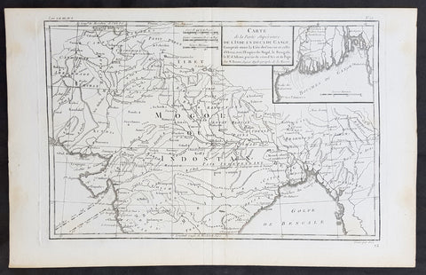 1780 R. Bonne Original Antique Map of Mogul Empire, India, Tibet, Tibet & Ganges