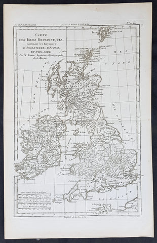 1780 Rigobert Bonne Original Antique Map of Great Britain and Ireland