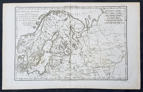 1780 Bonne Original Antique Map of Scandinavia, Baltic States & European Russia
