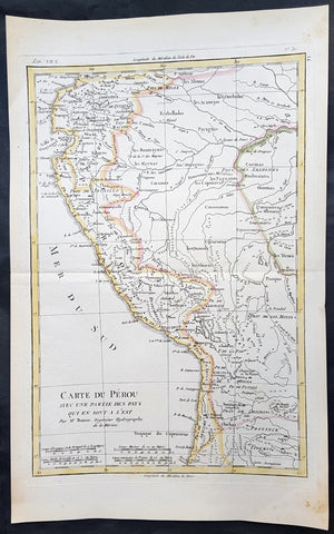 1780 Rigobert Bonne Antique Map of Peru, The Amazon River, South America