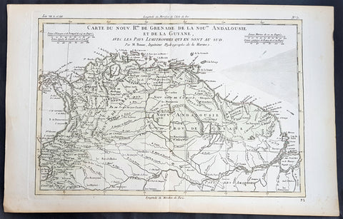1780 Rigobert Bonne Antique Map South America Colombia, Venezuela, Amazon River
