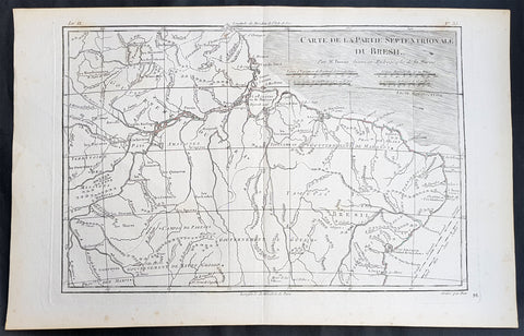 1780 Rigobert Bonne Antique Map of Northern Brazil, French Guiana, Amazon River