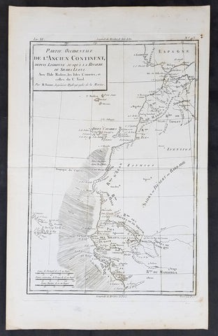 1780 Rigobert Bonne Original Antique Map NW Africa Morocco to Senegal Canary Is.