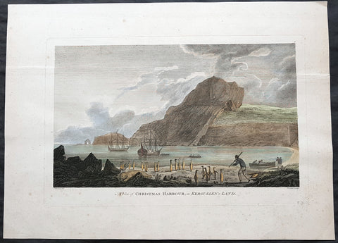 1784 Cook Antique 1st edition Print HMS Resolution & Discovery Xmas Bay, Kerguelen Isle 1776