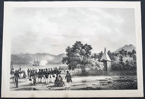 1836 Dumont D Urville Large Antique Print Monument to La Perouse Solomon Islands