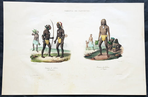 1833 d' Urville Antique Folio Print The People of Solomon Islands
