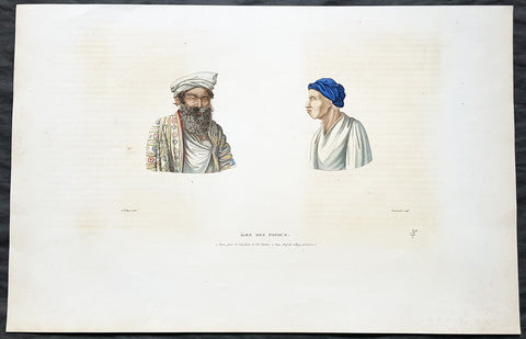 1824 Louis Freycinet Antique Print Chief of Waigeo Is & Man of Gebe Is Indonesia