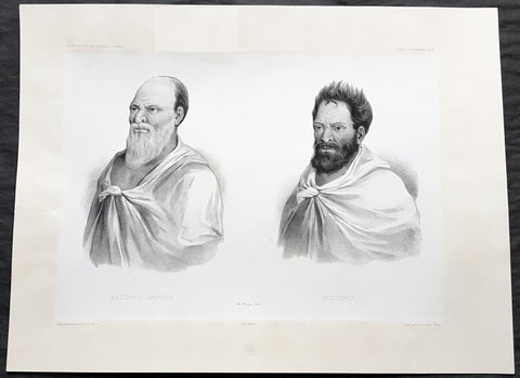 1842 d' Urville Antique Folio Print of Men of Mauga, Savai'i Island, Somoa