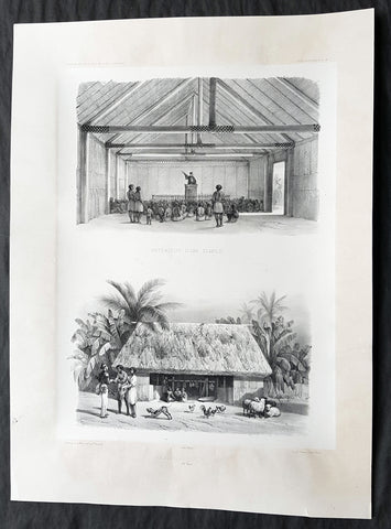 1846 D Urville Large Antique Print of Hut & Church Matureivavao French Polynesia