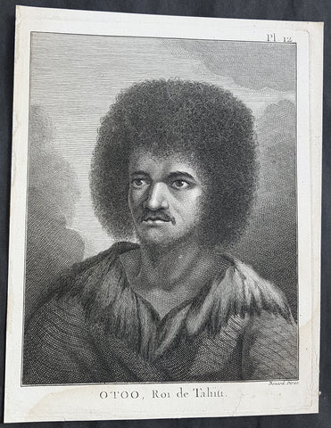 1774 Capt. Cook Antique Print a Portrait of Chief Tynah, Otoo of Tahiti in 1769
