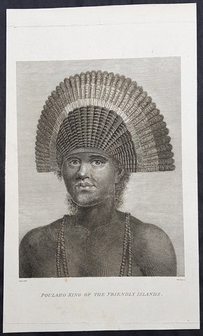 1784 Capt Cook Antique Print The King of the Tongan Islands, Fatafehi Paulaho