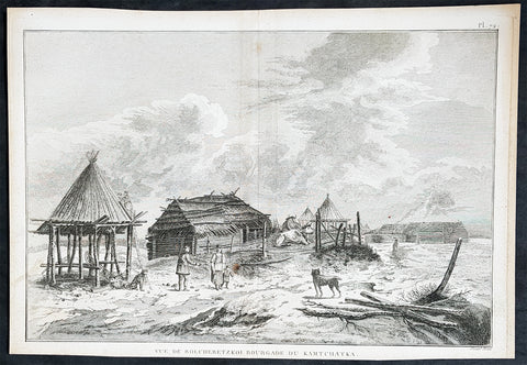 1780 Cook Benard Large Antique Print View of Village Kamchatka Peninsula Russia