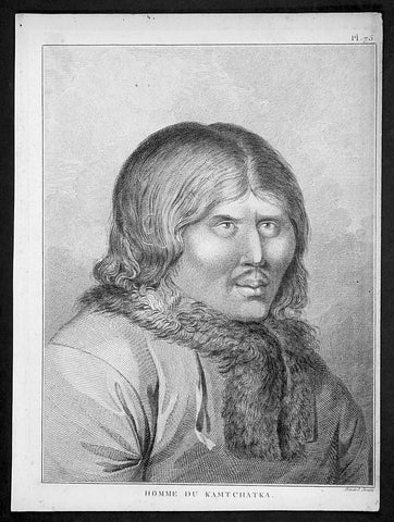 1785 Capt. Cook Antique Print of a Man of Kamchatka Peninsula East Russia, 1779