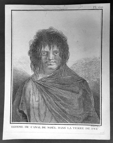 1778 Capt Cook Antique Print Portrait of a Man of Terra del Fuego, Chile in 1774