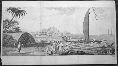 1773 Hawkesworth Antique Print Raiatea Island, French Polynesia - Capt Cook 1769