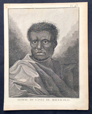 1778 Capt. Cook Antique Print Portrait A Man of Malakula Island Vanuatu in 1774