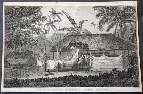 1780 Cook Benard Large Antique Print of Dead Tahitian Chief Laying in State