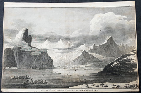 1785 Cook Antique Print HMS Resolution & Discovery, Prince William Sound, Alaska