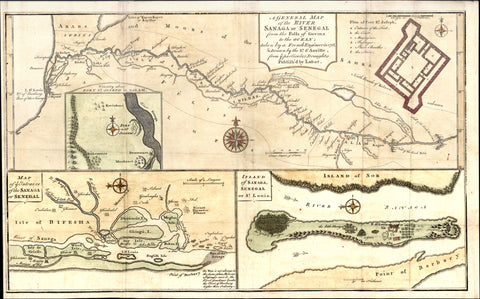 1760 Bowen, D Anville Map Entrance of River Sanaga, St Louis Senegal West Africa