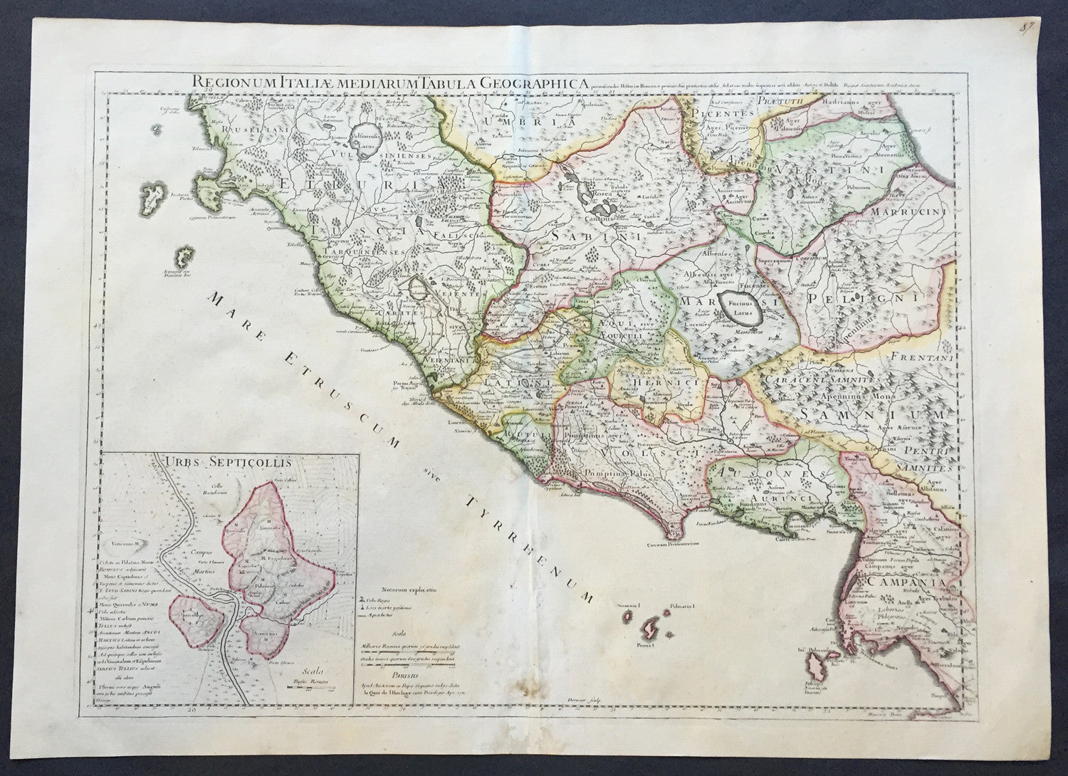 Regions Italy Map.1711 Claude Delisle Large Antique Map Of Rome And Regions Italy