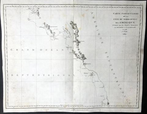 1786 La Perouse Large Antique Map of British Columbia & Vancouver Isle, Canada