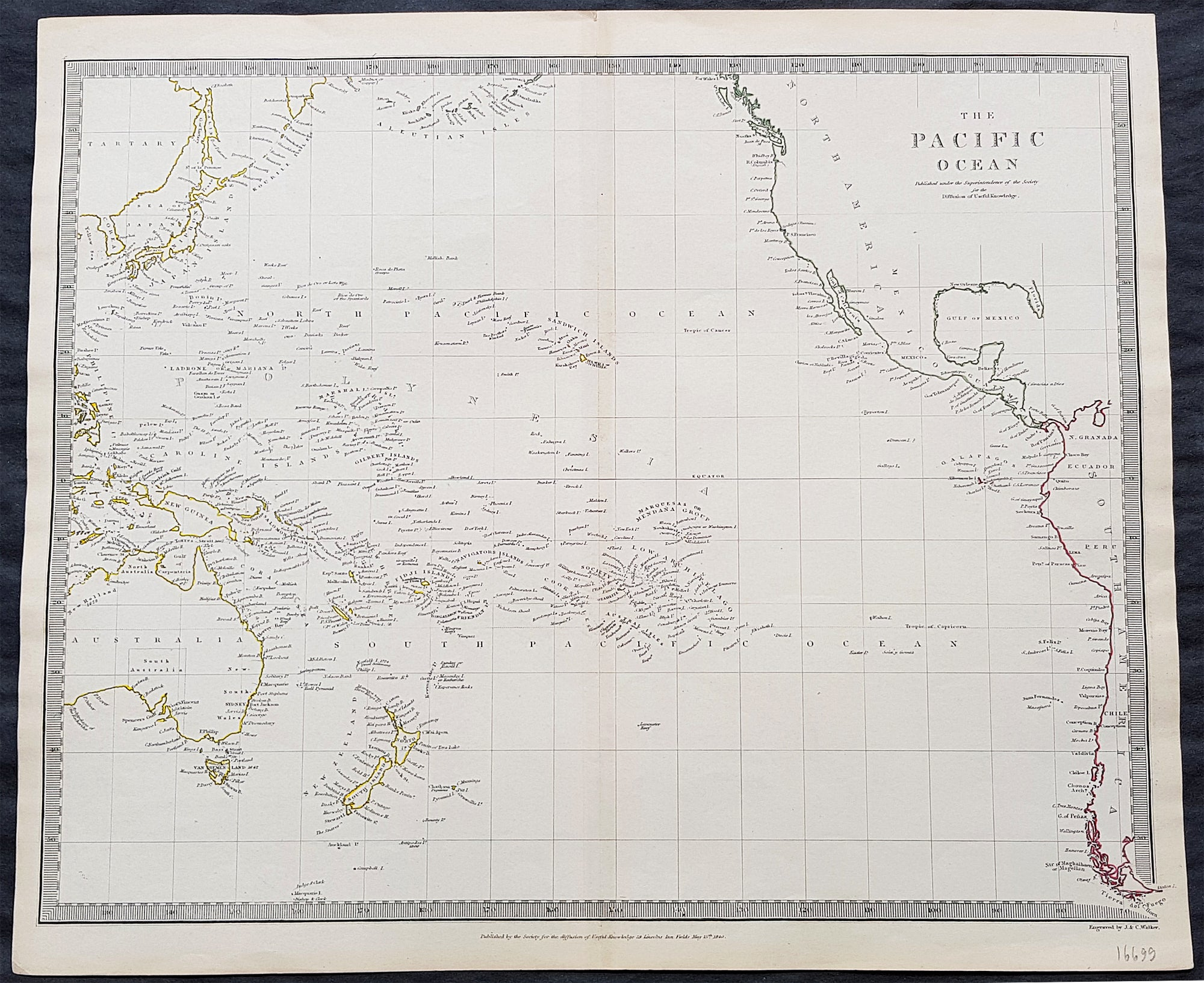 Picture of: 1840 Sduk Antique Map Of The Pacific Ocean North America Japan Aust Classical Images