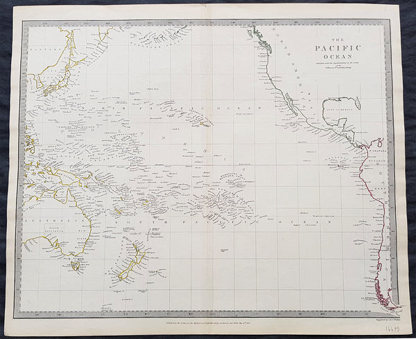 Map Of America And Japan.1840 Sduk Antique Map Of The Pacific Ocean North America Japan Australia New Zealand