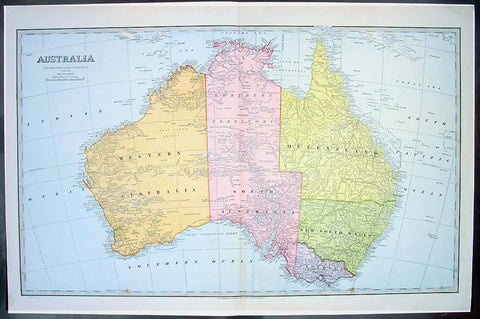 1888 Pic Atlas Scally Large Antique Map of Australia