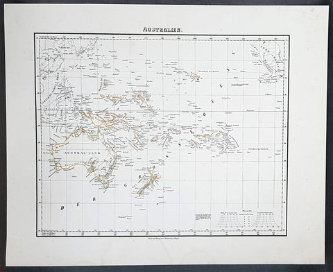 1854 Handtke & Flemming Antique Map of Australia, New Zealand, Pacific