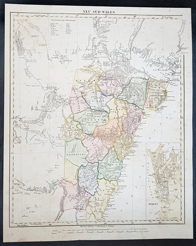 1854 Handtke & Flemming Large Antique Map of New South Wales, Sydney, Australia