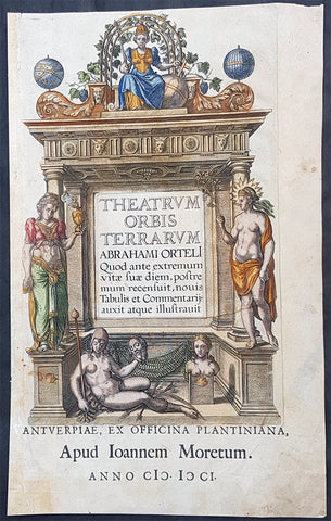 1601 Abraham Ortelius Antique Title Page from The Theatrum Orbis Terrarum Atlas