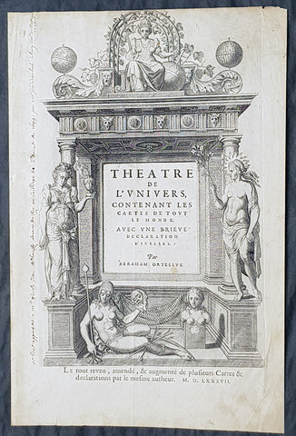 1587 Abraham Ortelius Antique Title Page from the Atlas Theatrum Orbis Terrarum