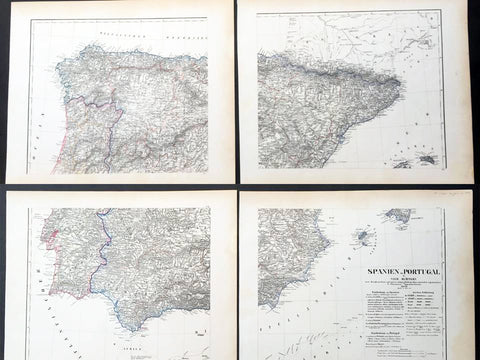 1854 Handtke & Flemming Huge 4 Sheet Antique Map of Spain, Portugal, Balearic Is