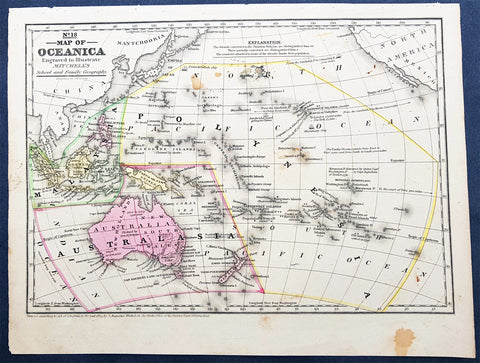 1839 Samuel Augustus Mitchell Antique Map of New Holland, New Zealand & Oceania